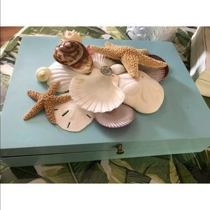 Seashell Turquoise Wood Silverware STORAGE…